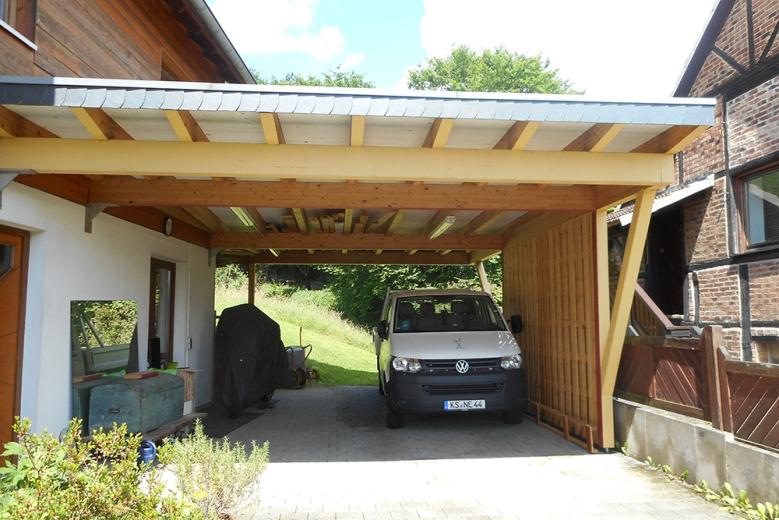 b Carportanbau mit Sichtschutzwand